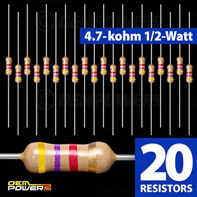 20 X Radioshack 4.7k-ohm 12-watt 5 Carbon Film Resistor 2711124 Bulk Pack New