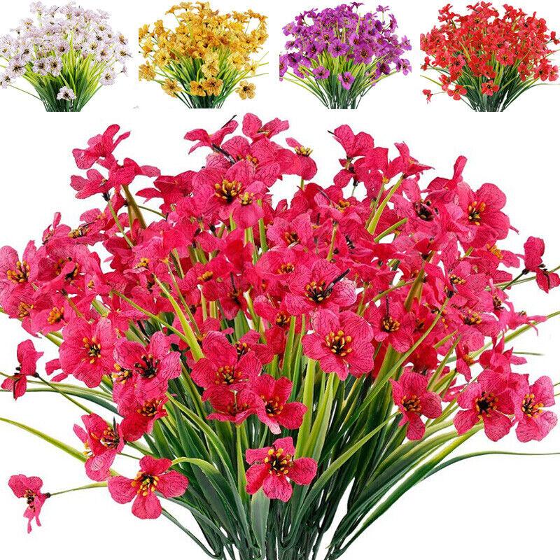 5 Bundles Artificial Flowers Plastic Fake Outdoor Plants Faux UV Resistant