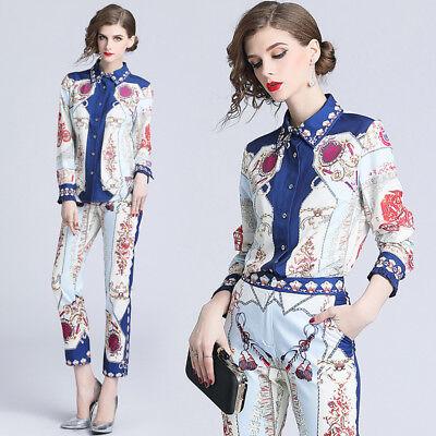 2019 Spring 2PCS Women Sets Runway Vintage Print Shirt Blouse Pant Suits Outfits - Suits Outfits