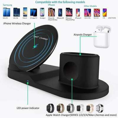 3 in 1 Qi Wireless Fast Charger Dock Stand For Apple Watch Earbuds iPhone UK