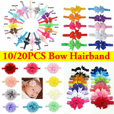10/20pcs Newborn Baby Headbands Set Elastic Kids Girls Bow Hair Band Headdress
