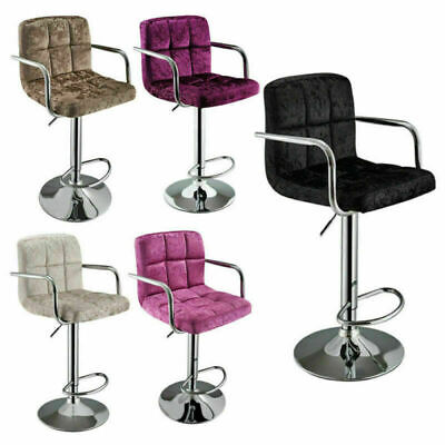 Crushed Velvet Cuban Chrome Gas Lift Swivel Kitchen Breakfast Bar Stool with Arm