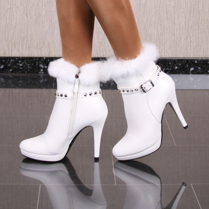 Damen Stiefeletten Schuhe aus Leder-Imitat mit Kunstfell Weiß #2350
