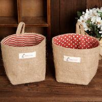 Round Cotton Linen Draw String Toy Clothing Hanging Bag Storage Bag Basket - unbranded - ebay.co.uk