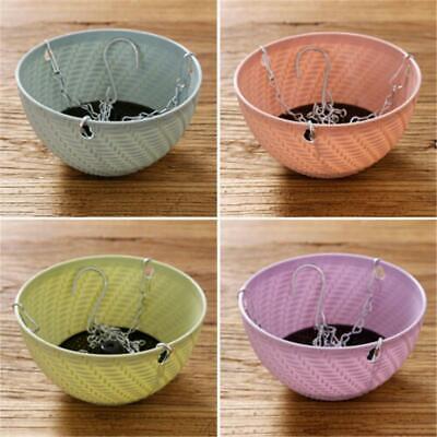 Rattan Woven Resin Hanging Basket Flower Vase Planter Hook Pot Home Garden Decor (Woven Resin)