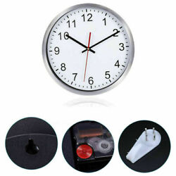12'' Non-Ticking Silent Silver Decorative Frame Wall Clock Creative with Hook