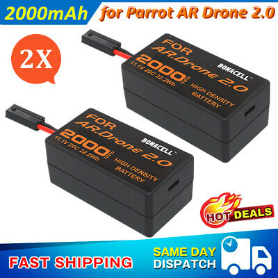 2 Pack 2.0Ah 11.1V 20C Li Po Upgrade Battery for Parrot AR Drone 2.0 Quadcopter