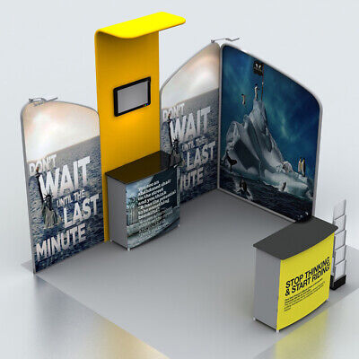 10ft Custom Trade Show Display Booth Set Pop Up Stand With Spotlights Tables