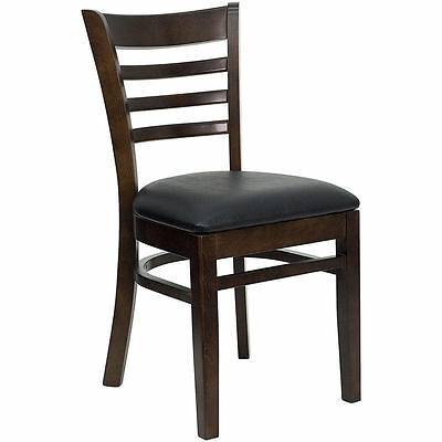 10 Wood Frame Walnut Finish Ladder Back Restaurant Chairs W Black Vinyl Seat
