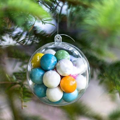 x10 Baubles Christmas Decorations 50mm Fillable Empty Clear Plastic (Plastic Christmas Decorations)