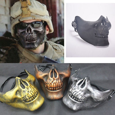 Skeleton Half Face Mask Costume Halloween Party Airsoft Skull Mask Motorcycle  - Half Skull Face Halloween
