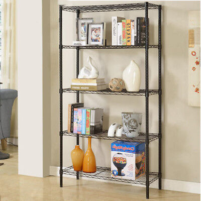 Wire Rack Metal Steel Shelf Shelving 35 Tier Adjustable Garage Storage W Wheel