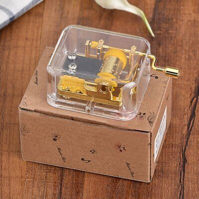 Complete Songs Acrylic Hand Crank Gurdy Gold Movement Music Box Kids Girls