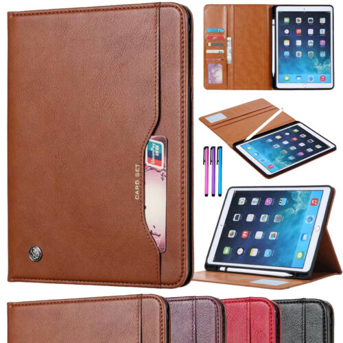 Leather Wallet Case Cover with Pencil Holder for Apple iPad