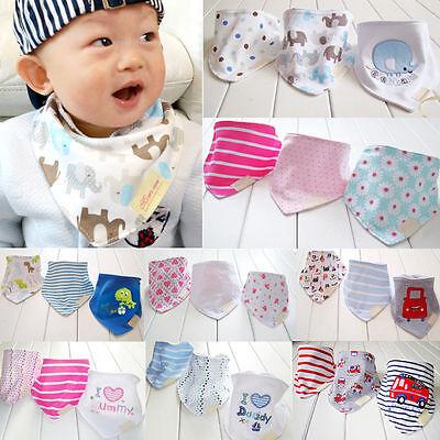 3tlg Baby Kinder Dreieckstuch Lätzchen Sabberlatz Halstuch Spucktuch Sabbertuch