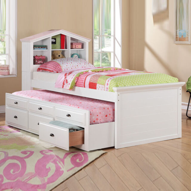 White Girls Kids House Shaped Bookcase Headboard Combo Trundle 3 Drawer Twin  Bed - F9223 White Kids Girls Bookcase Twin Bed Storage Trundle Drawers
