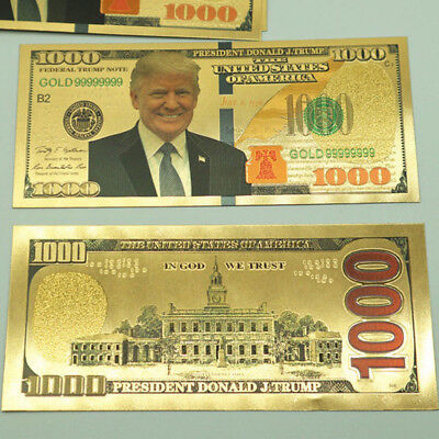 Us President Donald Trump New Colorized  1000 Dollar Bill Gold Foil Banknote