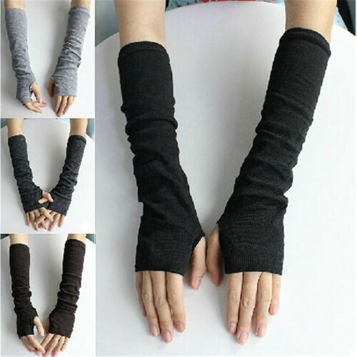 Knitting Fingerless Long Gloves Half Finger Arm Warmer Elbow Opera  Z