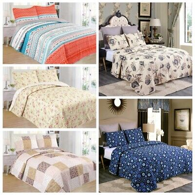 3 Piece Lightweight Quilt Set Full Queen/King Soft Floral Print Coverlet Set