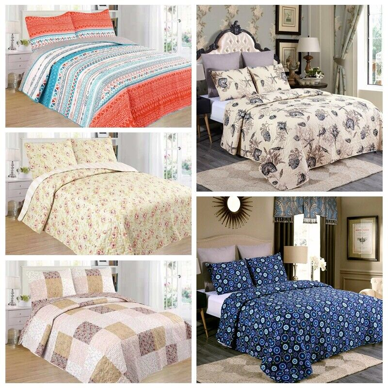 3 Piece Lightweight Quilt Set Full Queen/King Soft Floral Pr