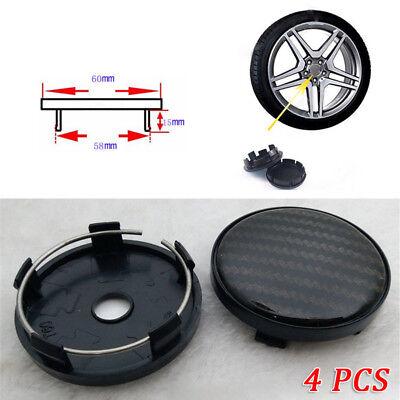 4Pcs 60Mm 58Mm Carbon Fiber Surface Car Suv Wheel Center Hub Caps Cover Splendid