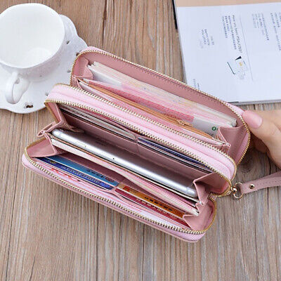 Large Capacity Lady Leather Wallet Xmas Gift Double Zip Clutch Purse Phone Bag