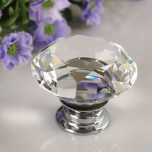 1 1/4 Crystal Glass diamond and chrome knobs NIB