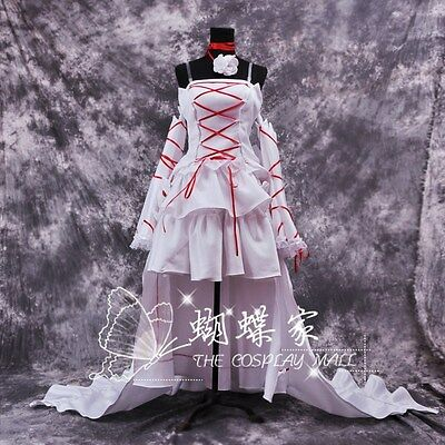 Pandora Hearts Alice Cosplay Chobits Chii Abend-Kleid lang Weiß Rot Lolita Ball