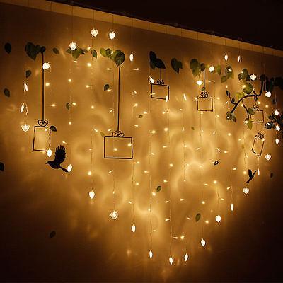 128 LED Heart-Shape Fairy String Curtain Light Valentine's Day Wedding Party - Valentine Lights