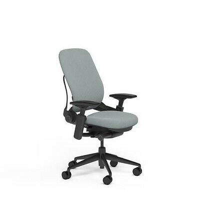 New Steelcase Adjustable Leap Desk Chair Buzz2 Alpine Fabric Seat - Black Frame