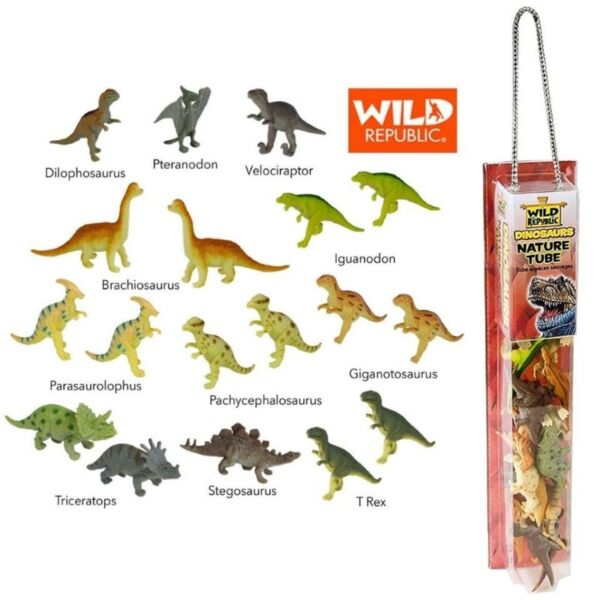 Wild Republic Dinosaur Animal Figurines Tube, Dinosaur Toys, T Rex, Triceratops, etc