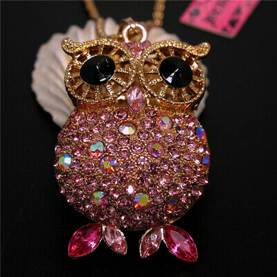 New Cute Pink Shiny Crystal Big Eye Owl Betsey Johnson Pendant Sweater Necklace