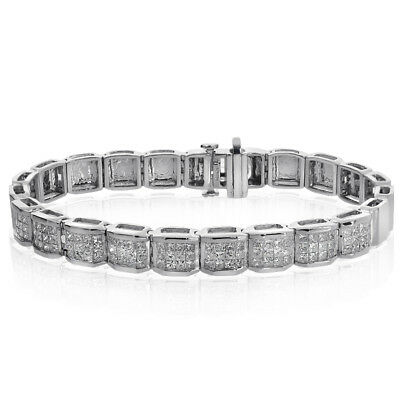 5.00 Carat Princess Cut Diamond Invisible Set Bracelet 14K White Gold