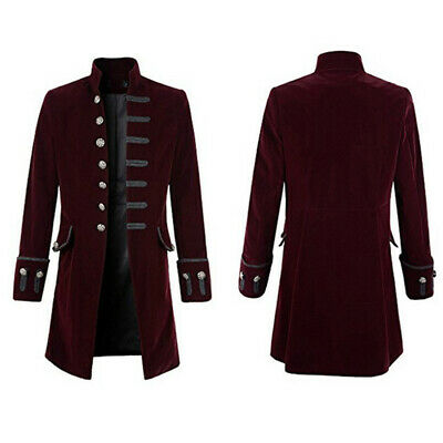 Herren Mantel Gehrock Gothic Steampunk Cosplay Piratenjacke Retro Militä Uniform (Pirat Mantel Kostüm)
