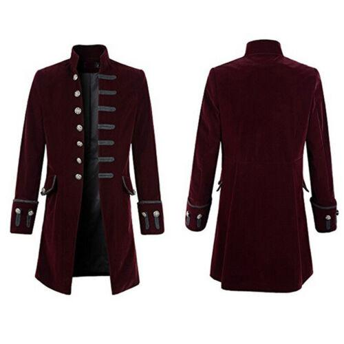 Herren Mantel Gehrock Gothic Steampunk Cosplay Piratenjacke Retro Militä Uniform