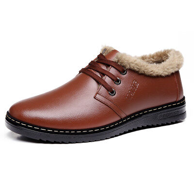 men leather winter boots fur lined warm shoes lace up