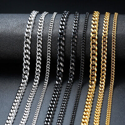3-7MM Cuban Curb Flat Link Chain Men Necklace Choker Stainless Steel 18 20 -