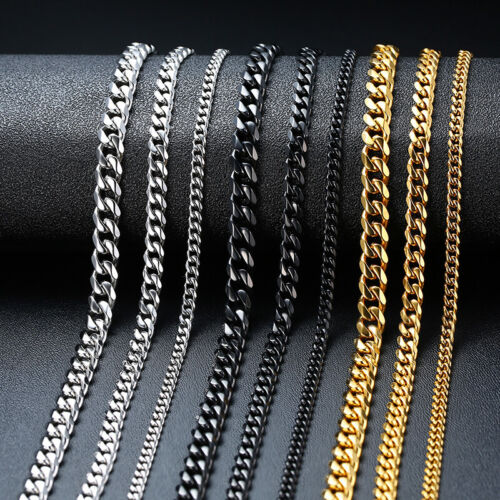 3-7MM Cuban Curb Flat Link Chain Men Necklace Choker Stainle