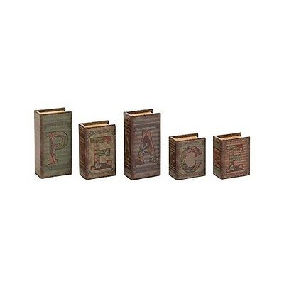 Benzara 59392 Peace Written Wood Faux Leather Book Box Set Of 5 New