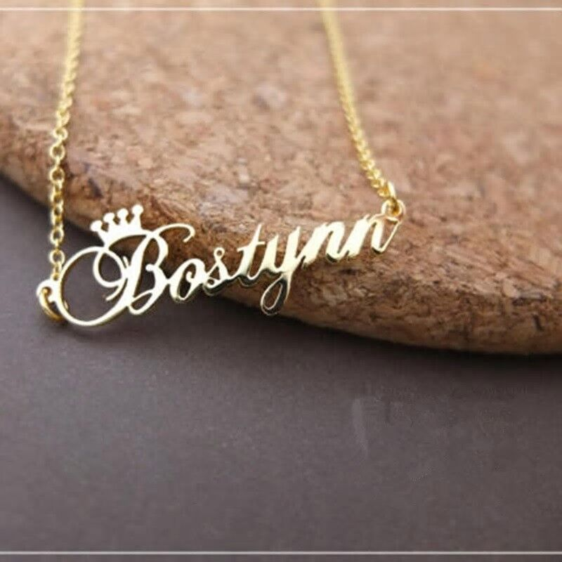 Necklace Crown Name Custom Personalized Stainless Steel Init
