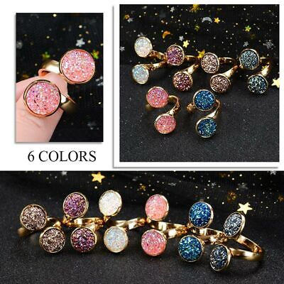 NEW Fashion Adjustable Bling Glitter Crystal Open Ring For Women Girls Gifts