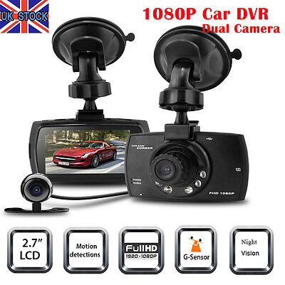 "2.7"" 1080p Full HD Car DVR Dual Lens Dash Camera Video Cam Night Vision Recorder"