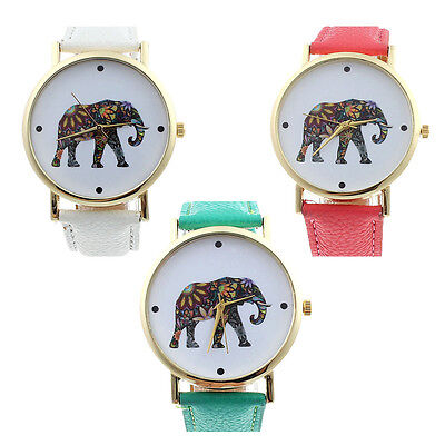 New Womens Fashion Elephant Pattern Leather Analog Quartz Dial Watch Gift