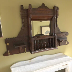 ANTIQUE VICTORIA WALNUT WALL MIRROR W/ CANDLE HOLDERS, COAT HOOK