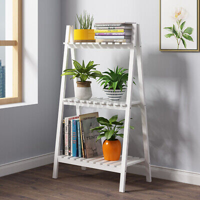 3 Tier Foldable Wood Plant Shelf Flower Stand Rack Garden Indoor Outdoor