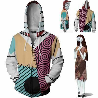 The Nightmare Before Christmas Eve Sally Jack Skellington Hoodie Costume Jacket
