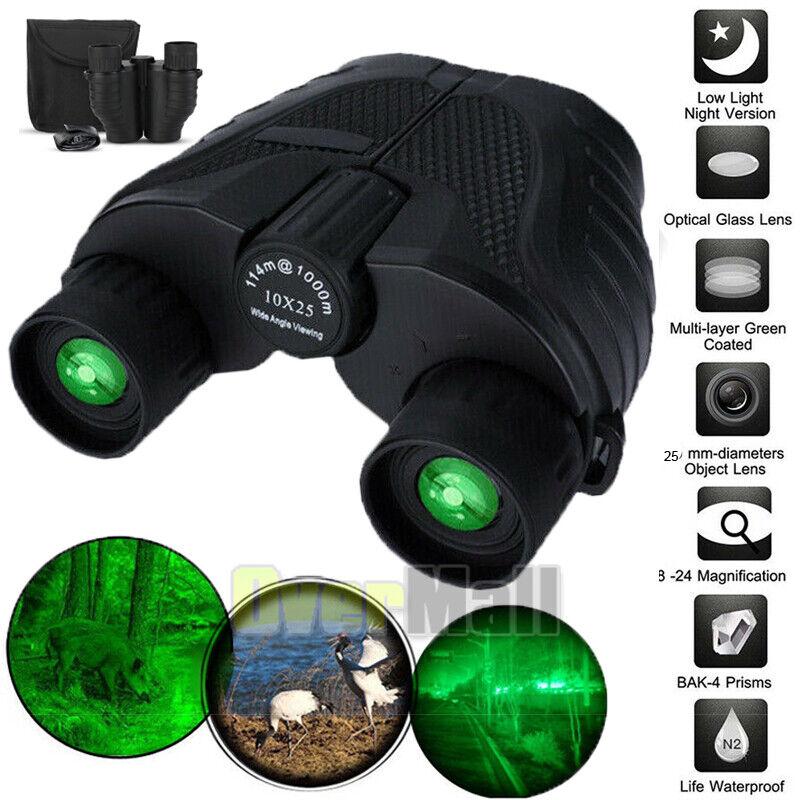 Day/Night 10x25 Military Zoom Powerful Binoculars Optics Hunting Camping+Case US