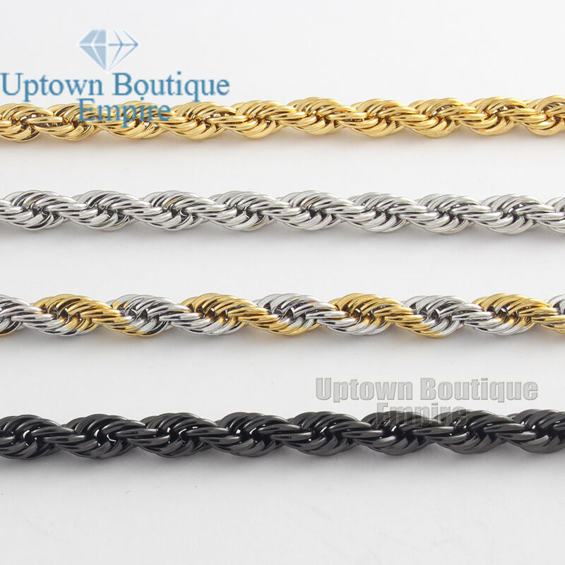 "Jewellery - Men Women's Stainless Steel 2/3/4/5mm Rope Necklace Chain 18-36"" Link"