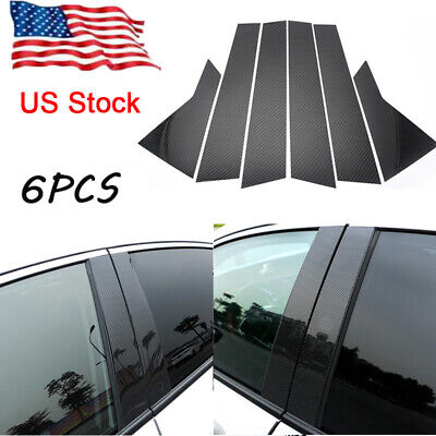 Honda Carbon - Glossy Carbon Fiber Pillar Posts 6pcs Cover Door Trim For Honda Civic 2016-18 US
