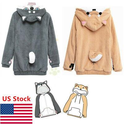 Womens Girls Neko Atsume Shiba Inu Husky Hoodie Coat Pullover Sweater Christmas